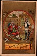 Chromo Dorée 1887 - Fable De La Fontaine - Le SAVETIER Et Le FINANCIER - Illust. V.A.Q. - Chromos