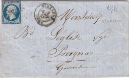 1865. LETTRE. N° 22. VOSGES. VAGNEY. GC 4063.  ORIGINE RURALE ROCHESSON. VERSO T22 GRANGES (82)  / 4423 - Marcophilie (Lettres)
