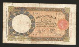 [CC]  REGNO D´ ITALIA - 50 Lire LUPETTA I° Tipo (Decr. 27/05/1939 - Firme: Azzolini/Urbini) Fascio - 50 Lire