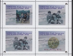 Fantasy Label Beatles Music Band On Gold Coins Stamp On Coin OVERPRINT 8 Blocks - Música