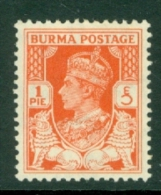 Burma: 1938/40   KGVI   SG18b    1p    MH - Burma (...-1947)
