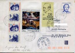 Tchecoslovaquie 1.jour Tarif 1.3.91 Pour La France,ecrivain,Seifert,Genevox,art Tableau Nirvana,mixte France-Tchecoslo - Covers