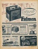 Ancienne Publicite (1950) : Batterie FULMEN, Jumelle HUET, Ceinture ANATOMIC... - Advertising