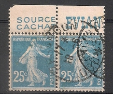 Timbre à Bande Publicitaire Type Semeuse 25c Bleu N° 140. Pub Publicité Réclame Carnet - Publicités