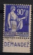 Timbre à Bande Publicitaire Type Paix 65c Bleu N° 365. Pub Publicité Réclame Carnet - Advertising
