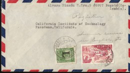 E)1950 COLOMBIA, RURAL HOUSING, AIR MAIL, CIRCULATED COVER FROM BOGOTA TO CALIFORNIA-USA, XF - Colombie