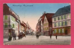 67 BAS-RHIN WISSEMBOURG, Rue Principale, Animée, Colorisée, 1923, (Ch. Graf., Wissembourg) - Wissembourg