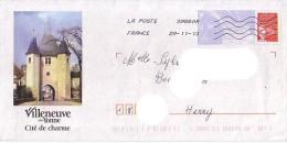 PAP Utilisé : 89 (yonne) : VILLENEUVE SUR YONNE, Porte De Joigny - Postal Stamped Stationery
