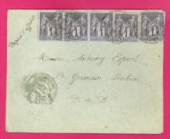 TYPE SAGE - N° 83 1c. Noir X 5 EXEMPLAIRES SUR LETTRE Adressée à SAINTGERMAIN LEMBRON (PUY DE DÔME) - 1877-1920: Periodo Semi Moderno