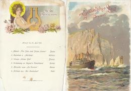 Menu Compagnie Maritime Bateau Paquebot Norddeutscher Lloyd Bremen Kronprinz Wilhem 1904 - Menus