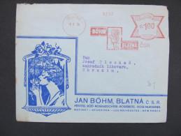 Brief Frankotype Postfreistempel Blatna Rose 1934 Böm   //// S2728 - Cartas