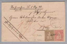 Heimat SZ Sattel 1869-03-18 Lang-O Blauschwarz NN-Brief - Lettres & Documents