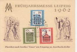 LEIPZIG FAIR, FAUST SCENE, PLANE, TRAIN, SHIP, CAR, EMBOISED SPECIAL POSTCARD, 1962, GERMANY - [6] Oost-Duitsland