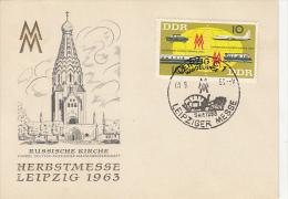 LEIPZIG FAIR, RUSSIAN CHURCH, PLANE, TRAIN, SHIP, CAR, EMBOISED SPECIAL POSTCARD, 1963, GERMANY - [6] Oost-Duitsland
