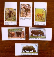 CONGO, WWF, Faune, Yvert 499/504 NON DENTELE, Imperforate ** Neuf Sans Charniere. MNH - W.W.F.