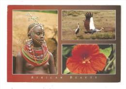 CM Kenya African Beauty 3 Vues : Jeune Femme Seins Nus Avec Colliers - Oiseaux - Fleur - Kenya