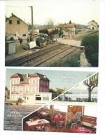 DEUX CPSM BAS EVETTE - DERAILLEMENT LOCOMOTIVE EN 1991 ET AUBERGE DU LAC - France
