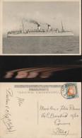 3646) LLOYD TRIESTINO MOTONAVE DUILIO VIAGGIATA 1937 DA SUD AFRICA A GENOVA CARTOLINA SOPRASTAMPATA ITALIA FLOTTE RIUNIT - Piroscafi