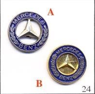 Lot De 2 Pin´s - Automobile - Mercedes - A&B/ Logos. Non Estampillés. Métal Peint. T412-24 - Mercedes