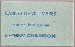 ESSAI MACHINES CHAMBON  -  Carnet Complet De 20 Timbres.  Neuf**  - SANS TRACE DE COLLAGE - - Essais
