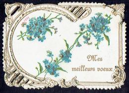 Chromo Jolie Carte De Voeux Gaufrée Ajourée Façon Canivet De 1922 , Paillettes, Fleurs, Pourtour Dentelé - Fleurs