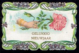Chromo Jolie Petite Carte De Voeux Gaufrée, Roses,violettes, Paillettes, Pourtour Dentelé - Fleurs