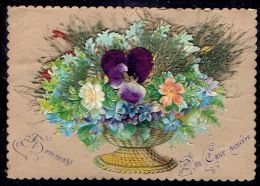 Chromo Superbe Carte Avec Ajoutis De Fleurs Et Herbes, Coeur En Tissus,pourtour Dentelé - Fleurs