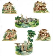Lot De 6 Chromos-découpis - Paysages-habitations - Animaux