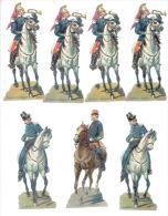 Lot De 7 Chromos (12 X 5 Cm) - Cavaliers-soldats - Découpis