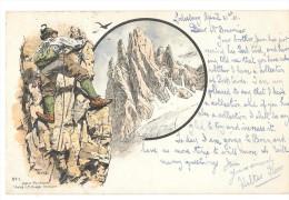 D12815  - Alpiniste * Dessin De Ernst PLATZ - N° 1*   *de Godesberg à Anvers-* 1902* - Mountaineering, Alpinism