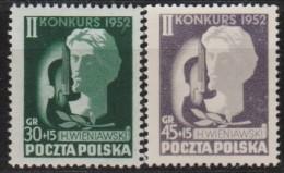 MB 3189) Polen Mi# 785-786 **: Henryk WIENIAWSKI, Komponist, Violinist (45 Gr. Grauviolett Statt Tiefviolett) - Music