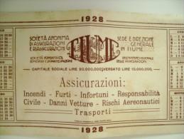 1928  FIUME Rijeka ASSICURAZIONE  CALENDARIO TIP.  PALAZZO ADRIA 29X11,5      KROATIEN CROAZIA   C2 LOTTO 35 PAG5 - Calendari