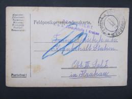 GANZSACHE Korrespondenzkarte Cermna Böhmisch Rothwasser - Krakow 1916  // D*18761 - Briefe U. Dokumente