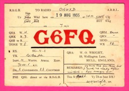 QSL - Radio - R.S.G.B. - W.O. WRIGHT - 53 Wellington Lane - Hull - Réseau Belge - 1935 - Radio