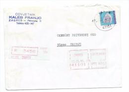 Yugoslavia,Croatia,Zagreb.Red Registered Mail.Letter.post Label.used Stamps - 1945-1992 République Fédérative Populaire De Yougoslavie