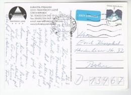 2010 CZECH REPUBLIC Stamps COVER (postcard HOTEL PYRAMIDA Frantiskovy Lazne) To Germany Priority Airmail Label - Czech Republic