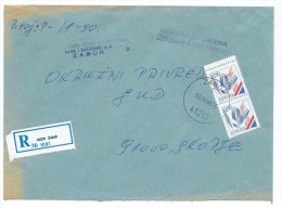 Yugoslavia,Croatia,Zabok Registered Letter.used Stamps - European Athletics Championships,Split - 1945-1992 République Fédérative Populaire De Yougoslavie