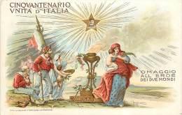 SPLENDIDA ILLUSTRAZIONE PER CINQUANTENARIO UNITA' D'ITALIA - OMAGGIO A GARIBALDI. CARTOLINA COMMEMORATIVA 1911 - Historia