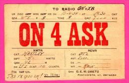 QSL - Radio - Q.R.A. G.E.M. SMETS Pesthofstr. Antwerp - Hartley - 1934 - Radio