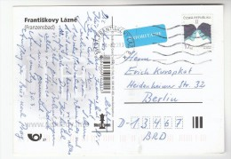2008 CZECH REPUBLIC Stamps COVER (postcard  Frantiskovy Lazne) To Germany Priority Airmail Label - Lettres & Documents