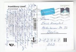 2008 CZECH REPUBLIC Stamps COVER (postcard  Frantiskovy Lazne) To Germany Priority Airmail Label - Czech Republic