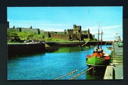ISLE OF MAN  -  Peel  Castle And Harbour  Unused Postcard - Ile De Man