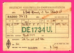 QSL - Radio - Via D.A.S.D. Berlin-Dahlem - Deutsche Kurzwellen Empfangsstation - Réseau Belge - V.R.B. Postbox Ghent - Radio