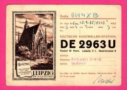 QSL - Rudolf W. Mahr - Querstrasse - The City Of Music - Berlin-Dahlem - Leipzig Die Musikstadt - Réseau Belge - 1935 - Radio