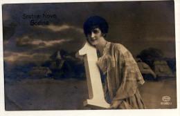 AK Feiern & Feste > NEUJAHR HAPPY NEW YEAR MÄDCHEN FOTOGRAFIE  Ansichtskarten 1918 - Nouvel An