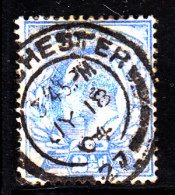 Great Britain Used Scott #131 2 1/2p Edward VII, Ultramarine CDS ?Chester MY 18 04 - Album Adherence - 1902-1951 (Rois)