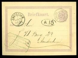 POSTHISTORIE * HANDGESCHREVEN BRIEFKAART Uit 1878 Van UTRECHT Naar AMSTERDAM * FIRMASTEMPEL (10.363a) - Postal Stationery