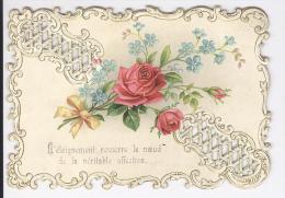 """Jolie Carte En Relief Ajourée Avec Roses """"L'éloignement Resserre Le Noeud ..."""" Fin XIXème . Souvenir D'amitié - Factures & Documents Commerciaux"""