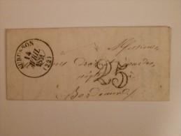 MARQUE POSTALE DE AUBUSSON A BORDEAUX DU 14 AVRIL 1851 - Postmark Collection (Covers)