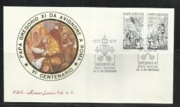 VATICANO VATICAN VATIKAN 1977 RITORNO DI PAPA GREGORIO XI DA AVIGNONE A ROMA SERIE COMPLETA COMPLETE SET FDC ROMA LUXOR - FDC